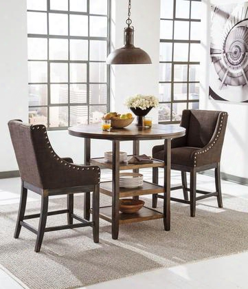 "Moriann D608-13-424 3-piece Dining Room Set With Round Counter Dining Table And Two 24"" High Upholstered Barstools In Dark Brown"