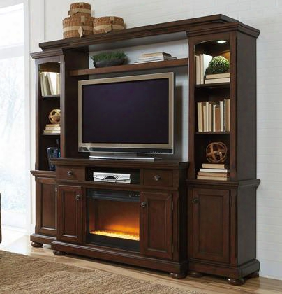 "Porter W697smwall02 Entertianment Center With 54"" Wide Large Tv Stand Left Pier Right Pier Bridge With Shelf And W100-02 Fireplace Insert In Rustic Brown"