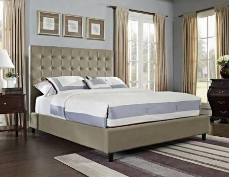 "Powell Collection 165-062m1 57"" King Size Bed With Soft Roll Back Tufted Buttons And Solid Pine Wood Frame In Neutral"