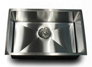 Sr2818 - Pro Series Rectangle Single Bowl Undermount Small Radius Corners Stainless Steel Kitchen Sink 16