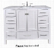 "Malibu GM-6412-48PW-CR 48"" Single Sink Vanity with 9 Drawers Italian Carrara White Marble Countertop and Brushed Nickel Hardware in Pure"