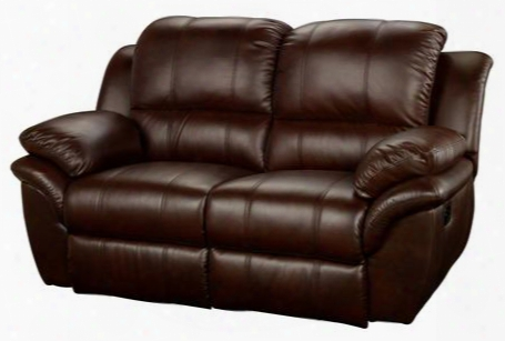 "22-203-22-brn Cabo 69"" Dual Recliner Loveseat With Power Recline Contemporary Design Bonded Leather Match Hardwood Frame Sinuous Spring ""no Sag"" Support"