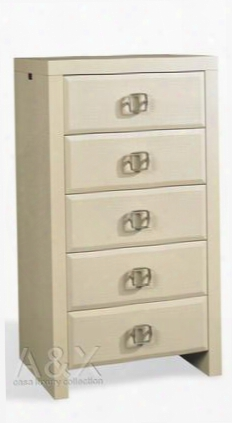"A&x Glam Vgunaw55060 24"" Chest With 5 Drawers Laser Etched Crocodile Texture And Square Metal Handles In High Gloss"