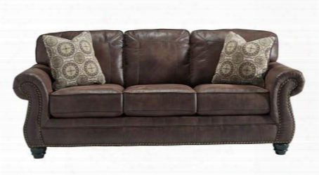 "Breville Collection 8000338 90"" Sofa With Faux Leather Upholstery Turned Bun Feet Nail Head Accents Stitched Detailing And Traditional Style In"