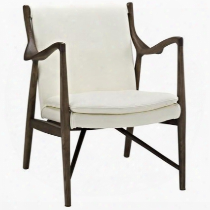 Eei-1663-wal-crm Makeshift Leather Lounge Chair In Walnut Cream