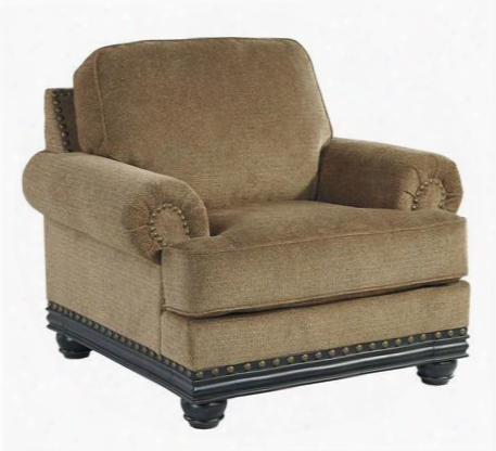 "Elnora Collection 9370220 46"" Chair With Fabric Upholsttery Nail Head Accents Bun Feet And Traditional Style In"
