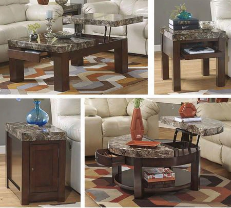 Kraleene T687crcece 4-piece Living Room Table Set With Lift Top Cocktail Table Round Lift Top Cocktail Table End Table And Chair Side End Table In Dark Brown
