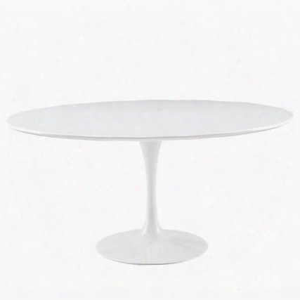 "Lippa Eei-1120-whi 30"" Scratch And Chip Resistant Wood Top Dining Table With Pedestal Base In White"