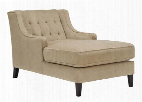 "Lochian Collection 5810015 35"" Chaise With Fabric Upholstery Button-tufted Details Piped Stitching Sloped Arms And Casual Style In"