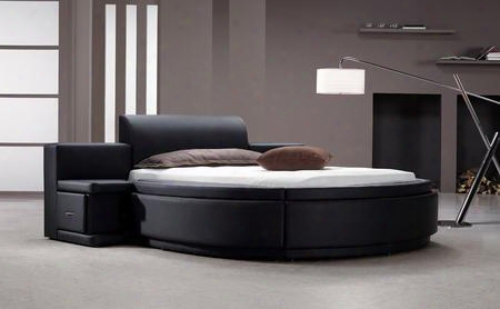 Modrest Owen Vg2tau01-15 Queen Size Round Bed With 2 Nightstands Storage And Leatherette Upholstery In Black