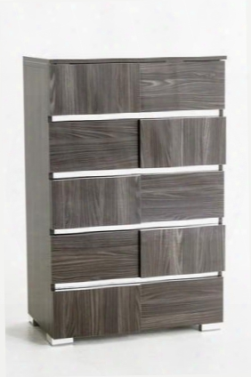 Modrest Picasso Collection Vgacpicasso-ch-grey Italian Modern Chest With 5 Drawers Silver Accents Metal Legs And Lacquer Finish In