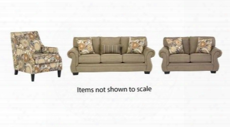 Tailya Collection 47700slac 3-piece Living Room Set With Sofa Loveseat And Accent Chair In Barley And
