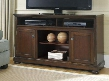 "Porter W697-68 60"" Large TV Stand with Fireplace and Audio Insert Compatibility 3 Adjustable Shelves 2 Doors and Bun Feet in Rustic"