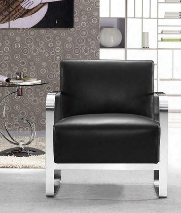 "Vg2t0560-blk Divani Casa Brizo 28"" Lounge Chair With Stainless Steel Frame And Full Leather Upholstery In"