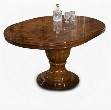 "Vgaccelizabeth-round-brn Modrest Elizabeth 45"" Round Extendable Dining Table With Coated Wood Lacquer And Made In Italy In Mahogany"
