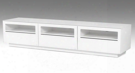 "Vgbbsj8202-wht Modrest Landon 84"" Tv Stand With 3 Electrical Wire Holes 3 Drawers Tempered Glass And Metal Legs In"