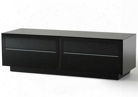 "Vgbbsl8152 Modrest Carter 59"" Tv Stand With 2 Drawers Shelves Metal Legs Temperd Glass And Eletrical Wire Holes In Black Lacquer"