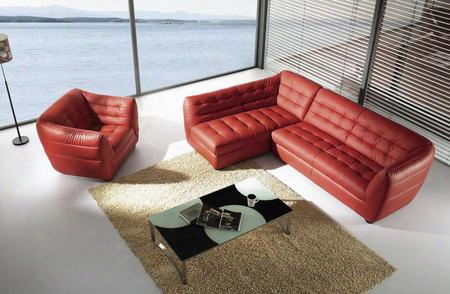 Vgbnbo390 Divani Casa Bo390 Burgundy Leather Sectional With