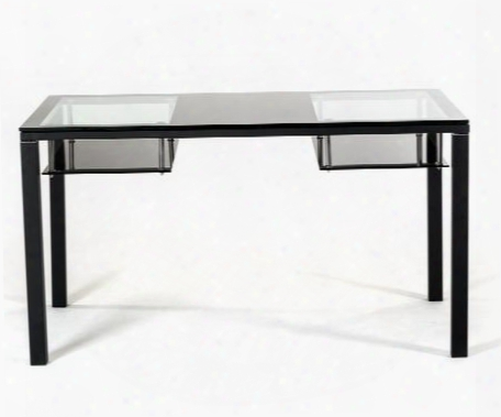 "Vgbnct71 Modrest 54"" Rectangular Dining Table With 2 Shelves And Glass Top In"
