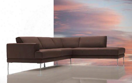 Vgdimirage-brn Dima Mirage Sectional Sofa With Right Facing Chaise High Density Foam Cushions Stainles S Steel Legs And Top Grain Italian Leather In