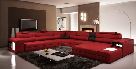 Vgev5022-dkred Divani Casa Polaris Sectional Sofa With Right Facing Chaise Ottoman Adjustable Headrests And Bonded Leather Upholstery In Dark