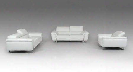 Vgfthighline-wht F&t Salotti Highline Sofa Set Wth Adjustable Headrests Stainless Steel Legs And Italian Leather Upholstery Made In Italy In