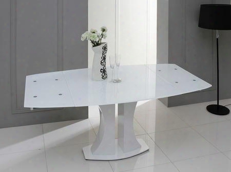 Vggu2331xt-wht Modrest Split Extendable Dining Table With Tinted Glass Top In White