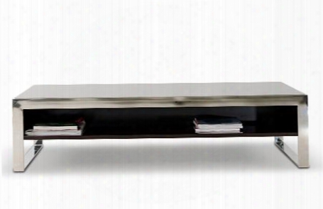 Vghb131d Modrest Noble Coffee Table Wtih Tempered Glass Top Stainlesss Steel Frame And One-sided Shelf In Ebony Lacquer