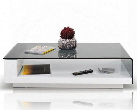 """Vghb676a1 Modrest Tide 47"""" Wide Coffee Table With Grey Tempered Glass Top Interior Shelf And High Gloss Base In White"""