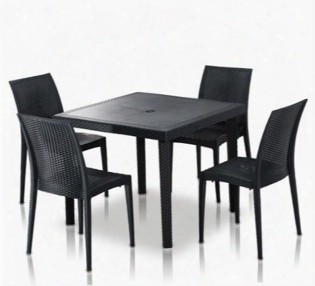 Vgigbistrot-tablesquare-set Modrest Bistrot Square Dining Set With Table And 4 Side Chairs In Charcoal