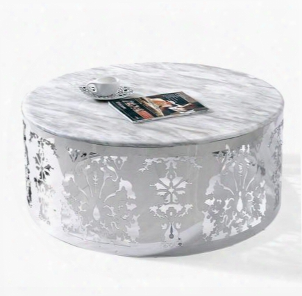 """Vglecf132 Modrest Maragret 35"""" Round Coffee Table With Marble Top And Low Cut Base In White"""