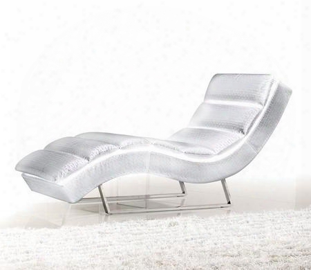 Vgmb1185-wht Divani Casa Chaise With Stainless Steel Legs High Density (1.9) Foam And Leatherette Upholstery In