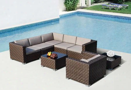 Vgsn-760390 Renava Barbados Sectional Sofa Set With Coffee Table End Table Metal Feet And Weatherproof Wicker Construction In