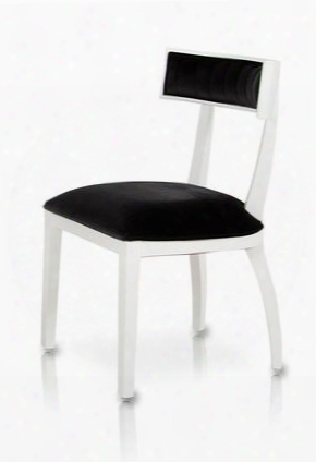 "Vgunaa032-wht A&x 25"" Dining Chair With High Gloss Tapered Legs And Black Fabric Upholstery In White"
