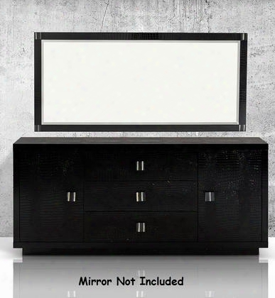 "Vgunrw109-180 A&x Bellagio 70"" Dresser With 3 Drawers 2 Doors 2 Shelves Ox Horn Handles And Laster-cut Crocodile Texture In Black"
