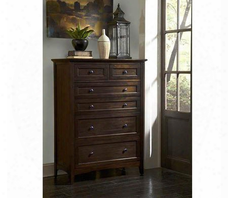 "Westlake Wsldm5600 40"" 6-drawer Chest With Felt Lined Top Drawers Full Extension Metal Glides And Gunmetal Hardware In Dark Mahogany"