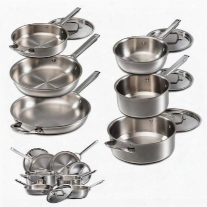 Wgcw100s 10 Piece Epicure Series Cookware Set With Dishwasher Safe Proprietary 7-ply Construction Fast Even Heating Beveled Walls And Sturdy Ergonomic