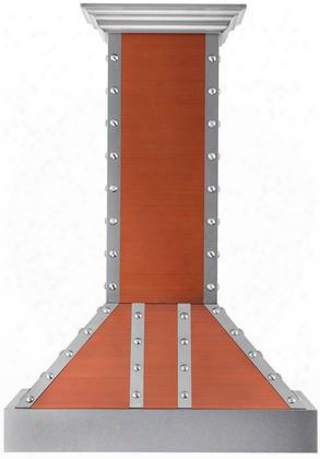 """655cssss36 36"""" Designer Series With 1200 Cfm 4 Fan Speed Lighting Stainless Steel Baffle Filters In Copper With Silver"""
