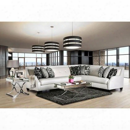 Betria Sm2263-sectional Sectional With Transitional Style Crystal-1ike Acrylic Buttons High-shine Fabric Sloped Track Arms In