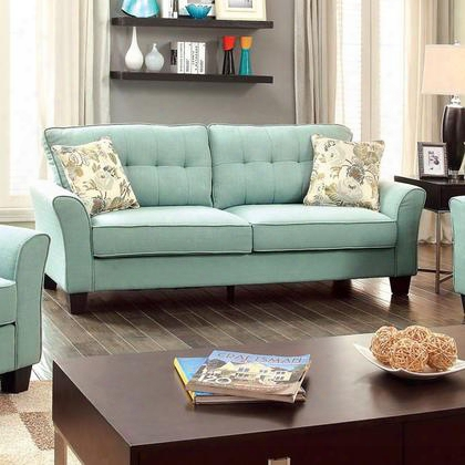 Claire Cm6266bl-sf Sofa With Transitional Style Padded Flax Fabric Plush Floral Pillows Tufted Cushions In