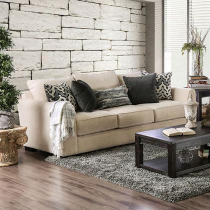 Durand Sm1274-sf Sofa With Transitional Style Premium Fabric Loose Back Pillows Welting Trim In