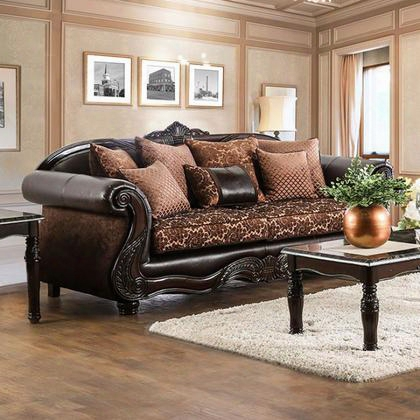 Elpis Sm6404-sf Sofa With Traditional Style Chenille Fabric And Faux Leather Intricate Wood Trim Rolled Arms In