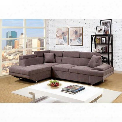 Foreman Cm6125br-sectional Sectional With Pull-out Bed Contemporary Style Flannelette Fabric Plush Seats And Cushions In