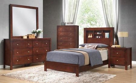 G2400btb2set 5 Pc Bedroom Set With Twin Size Panel Bed + Dresser + Mirror + Chest + Nightstand In Cherry