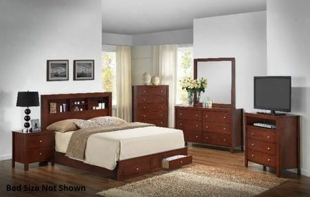 G2400dtsb2set 6 Pc Bedroom Set With Twin Size Storage Bed + Dresser + Mirror + Chest + Nightstand + Media Chest In Cherry