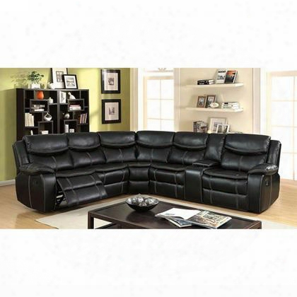 Gatria Ii Cm6982-sectional Reclining Sectional With Transitional Style Double Stitching Plush Cushions And Storage Console With Cup Holders In