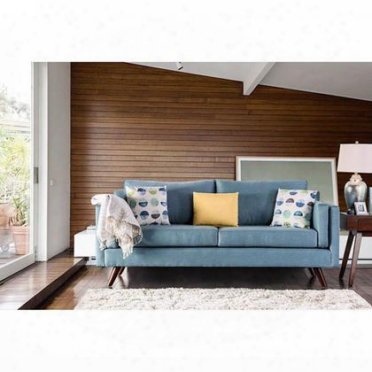 Genna Sm8820-sf Sofa With Mid-century Modern Style Linen-like Fabric Track Arms Wooden Tapering Legs In Sky