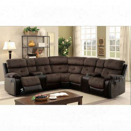 Hadley Ii Cm6871-sectional Sectional With Transitional Style 2 Recliners Plsuh Cushions Built-in Cup Holders And Storage In