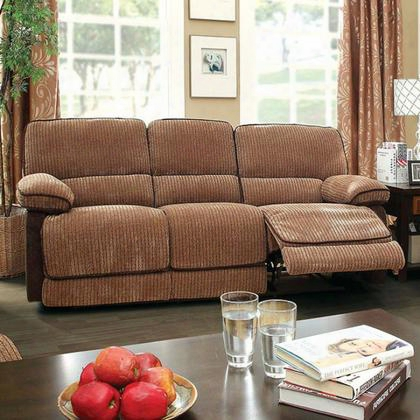 Hazlet Cm6581sf Sofa With Transitional Style Recliners Plush Cushions Chenille Fabric In Brown/dark