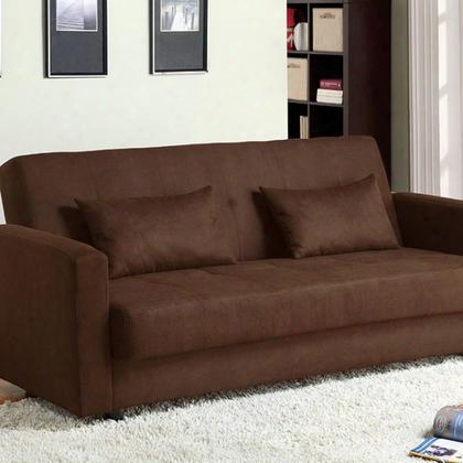 Jansen Cm2804 Microfiber Futon Sofa With Contemporary Style Under-seat Storage Brown 2 Pillows Included In